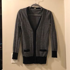 Black and gray striped long cardigan